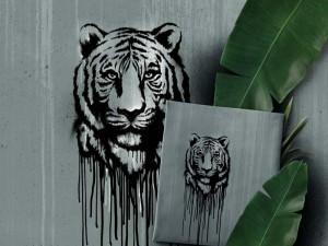 Baumwoll-Jersey Paneel Wild Tiger