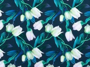 Baumwoll-Jersey weiße Tulpen