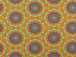 Baumwoll-Jersey Mandala gelb