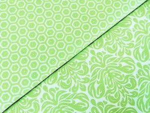 Baumwollstoffe-Ornamente-und-Sechsecke-grün