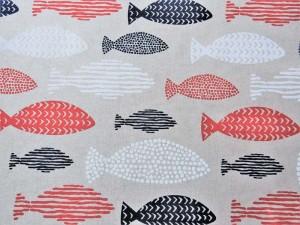 Dekorleinen Fische blau rot