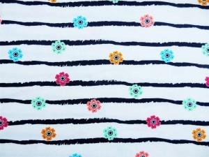 Baumwoll-Jersey Blumen-Streif