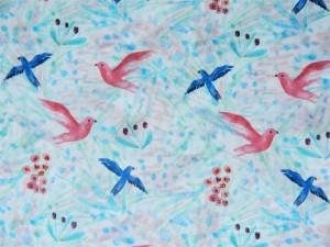 Baumwoll-Batist Vögel eisblau