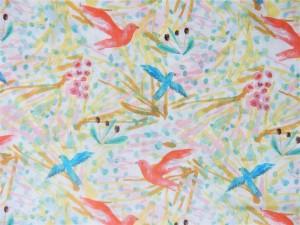 Baumwoll-Batist Vögel hellgelb