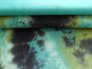Baumwoll-Jersey gebatikt in Grüntönen