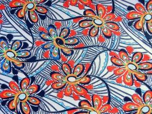 Baumwoll-Jersey Blumen rot
