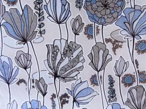 Baumwoll-Jersey Blumen blau