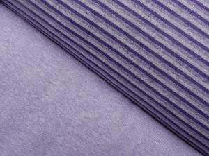 Baumwoll-Sweat uni und gestreift lila