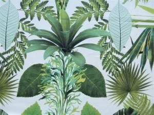 Dekorleinen Blätter grün
