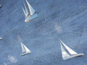 Dekorleinen Segelschiff jeansblau