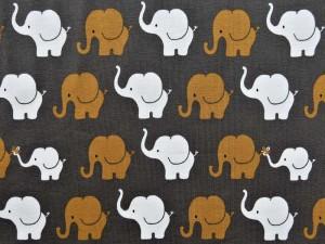 Baumwoll-Jersey-Serie Elefanten ocker