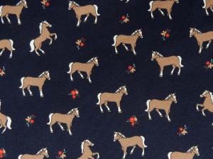 Baumwoll-Jersey Pferde dunkelblau