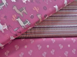 Baumwoll-Serie Lamas pink