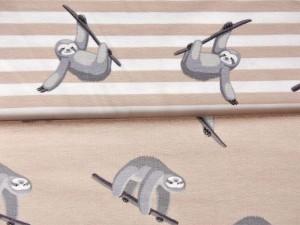 Baumwoll-Jerseys Faultiere beige