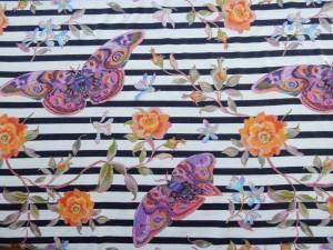 Baumwoll-Jersey Schmetterling gestreift