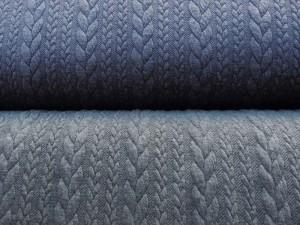 Jaquard-Jersey jeansblau und grau