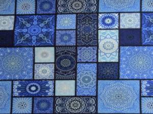 Baumwoll-Jersey Mosaik blau