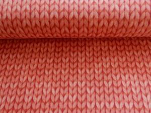 Baumwoll-Jersey Strickoptik lachs