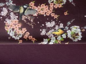 Baumwoll-Jersey Vögel weinrot