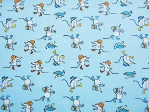 Baumwoll-Jersey Mäuse blau