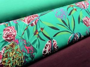 Viscose-Jersey floral grün