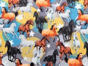 Baumwoll-Jersey Pferde
