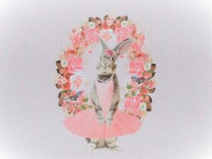 Baumwoll-Jersey Paneel Hasenmädchen