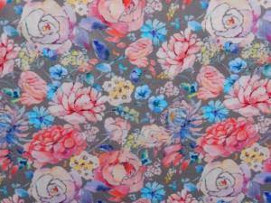 Baumwoll-Jersey floral grau