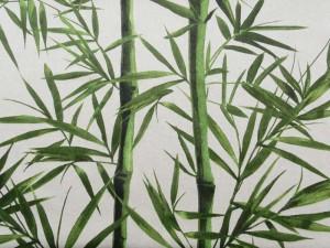 Dekorleinen Bambus grün-natur