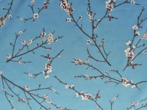 Dekorleinen Blüten-Zweige blau