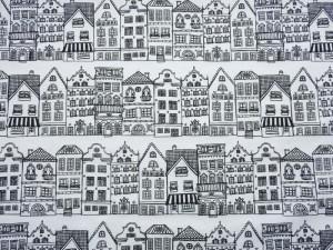 Dekorstoff Häuserfront weiß-schwarz