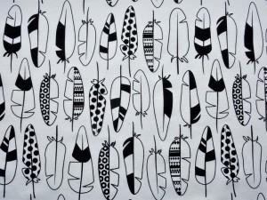 Dekorstoff Federn weiß-schwarz