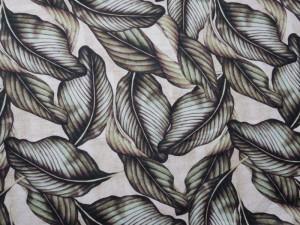 Dekorleinen Blätter graugrün