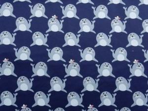 Baumwoll-Jersey Robbe dunkelblau