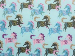 Baumwoll-Jersey Pferde mint