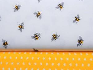 Baumwoll-Jerseys Bienchen und Sterne