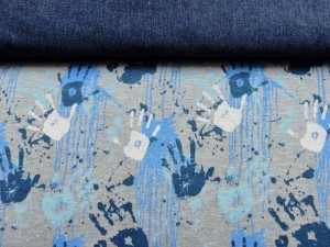 Baumwoll-Jersey Hände blau
