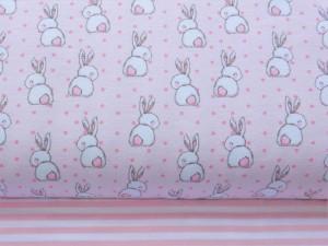 Baumwoll-Sommersweat Hasen rosa