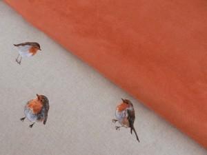 Dekorleinen Rotkehlchen und Rauleder orange