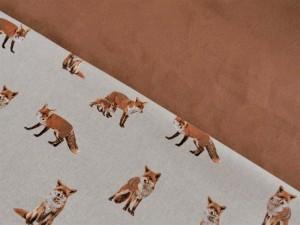 Dekorleinen Füchse und Rauleder rotbraun