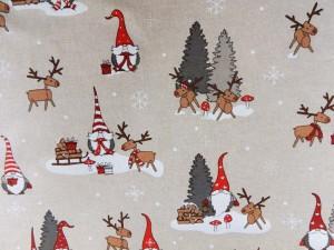 Dekorleinen Weihnachtszwerge mit Hirsch