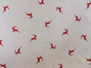 Dekorleinen Hirsche rot