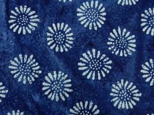 Baumwolle Batik Blume dunkelblau