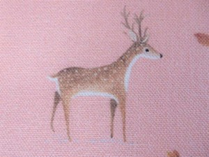 Dekorleinen Hirsche rosa