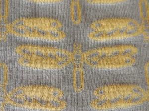 Jaquard-Jersey Libelle gelb hellgrau