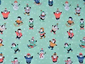 Baumwoll-Sweat Pinguine mint