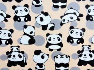 Baumwoll-Jersey Pandas beige