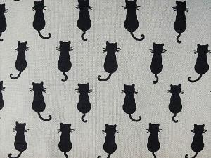Dekorleinen Katzen schwarz