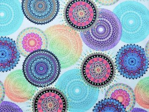 Dekorleinen Mandala bunt