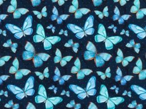 Baumwoll-Jersey Schmetterlinge blau